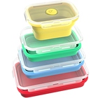Stackable Collapsible Vacuum Canister Silicone Food Storage Container Set