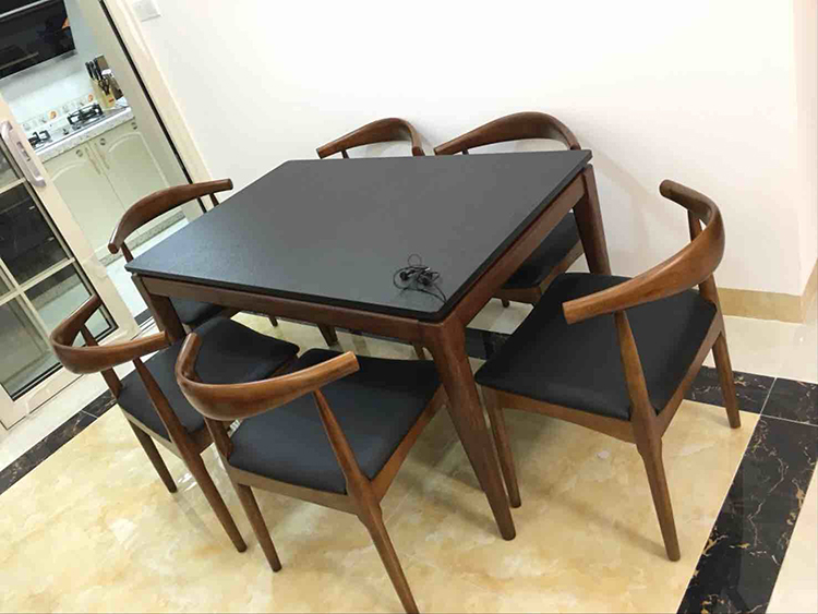 Restaurant furniture round table and 4 chairs extendable dining table