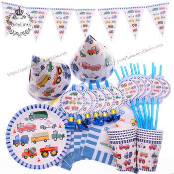 Ramadan Cartoon Cars Trucks Theme Happy Birthday Party Decorations Cups Plates Disposable Tableware Baby Shower Party Supplies