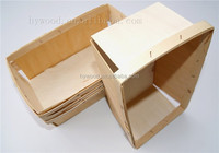 Factory square rectangle slat disposable thin chip wooden fruit basket / baskets wholesale
