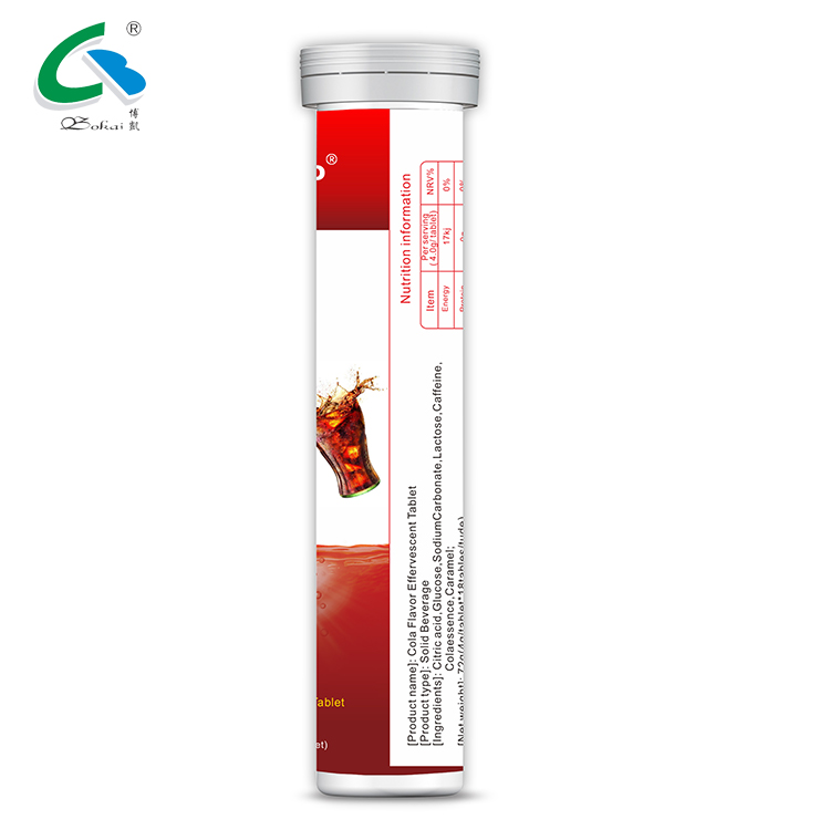 OEM Caffeine Energy Drink Cola Flavour Effervescent Tablets
