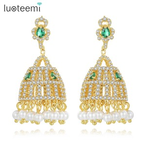 LUOTEEMI March New Arrival Fashion Indian Ethnic Gold Color Cubic Zirconia Paved Luxury Jhumki Drop Earrings