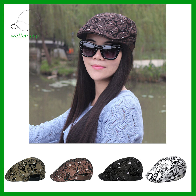 Wholesale printing beret caps for girl custom / fashion ivy caps/newsboy hat