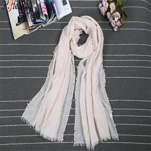 P-healthy The latest unique wholesales muslim ladies shawls plain cotton beads scarves with burrs