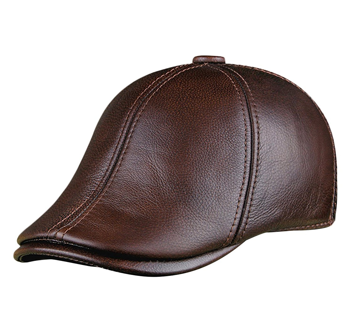 5af3d061007 Get Quotations · Insun Men s Genuine Leather Newsboy Cap Winter Warm Flap  Ivy Cap