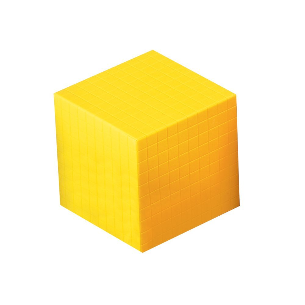 ETA hand2mind Base Ten Cube, Yellow Plastic