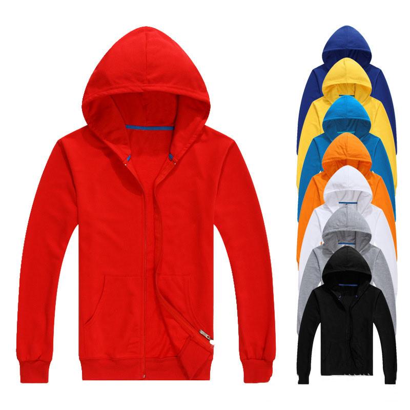2019 New style men plain blank custom zipper hoodies, White;yellow;red;gray;black;blue;orange;light blue