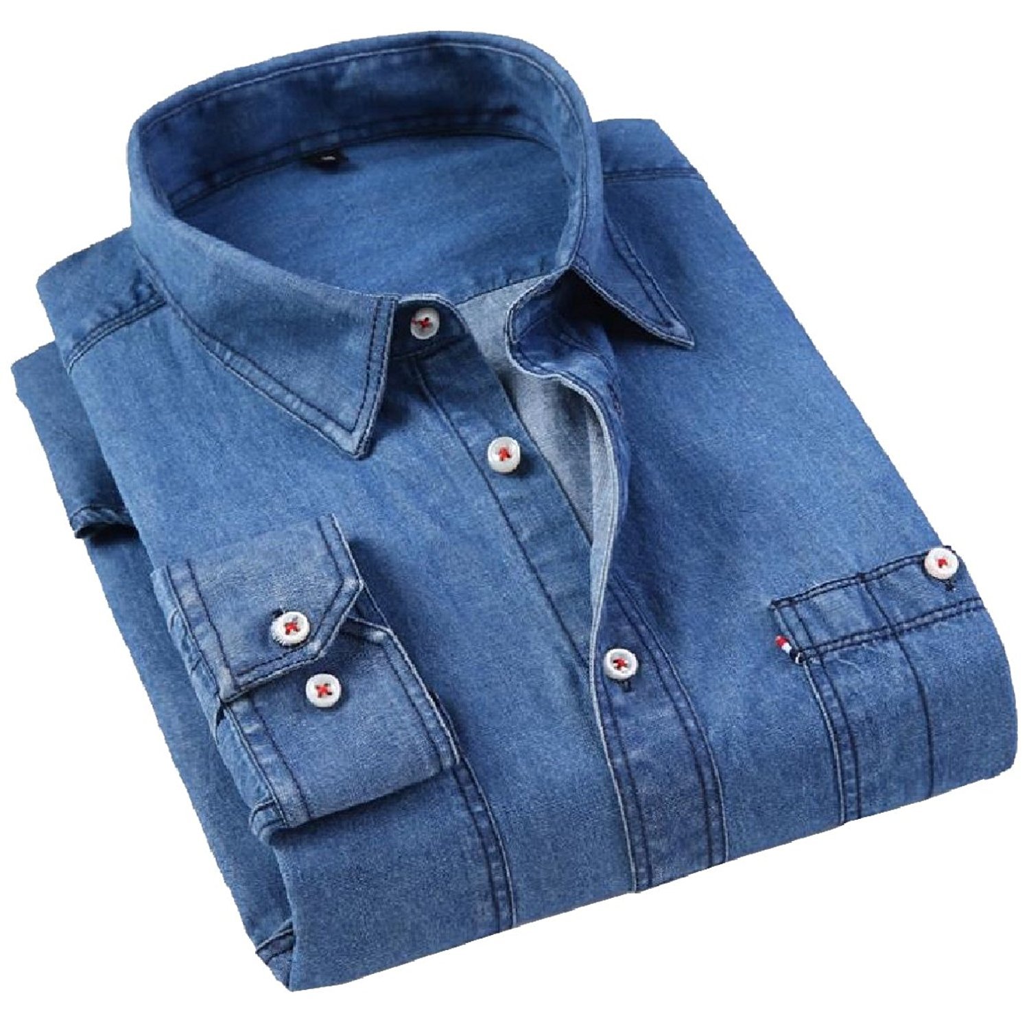 8b96b02edd48 Get Quotations · Abetteric Mens Button Down Plus-Size Cowboy Jean Turn Down  Collar Cardi Cardigan Casual Fitted