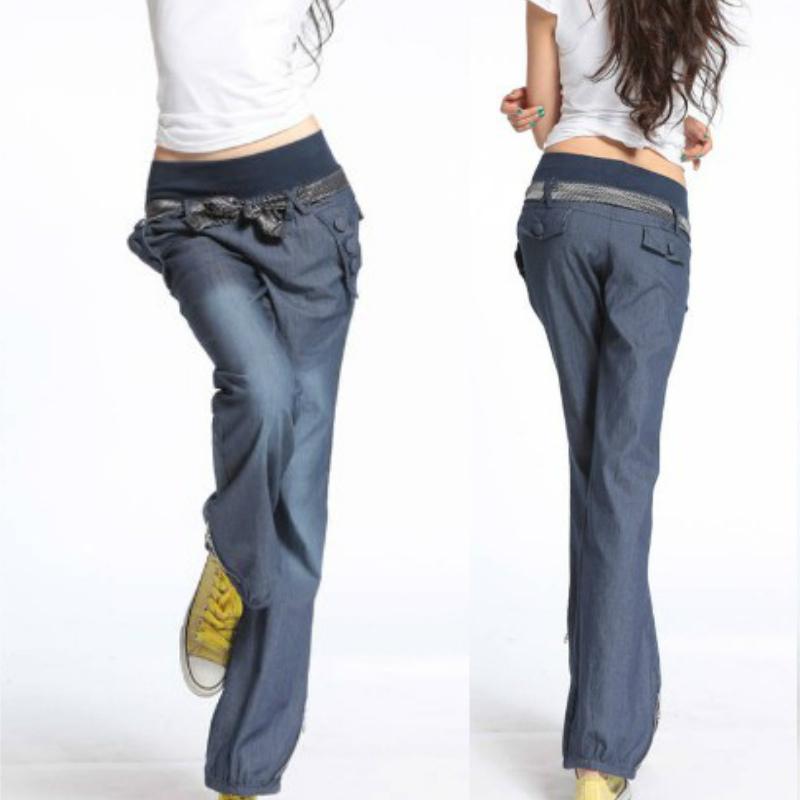Get Quotations · Free shipping 2015 fashion bloomers for women Elastic  waist jeans female denim wide leg long trousers b89da494ea5d