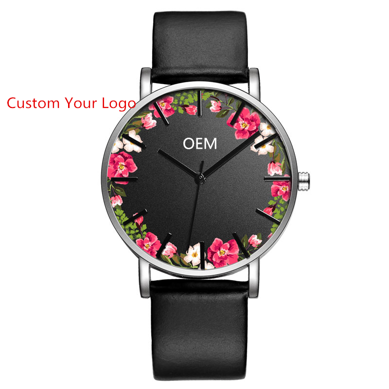 Flower Watches Women Relojes Mujeres Customized Faces With Your Own Logo China Watch Factory Custom Design Your Own Watch