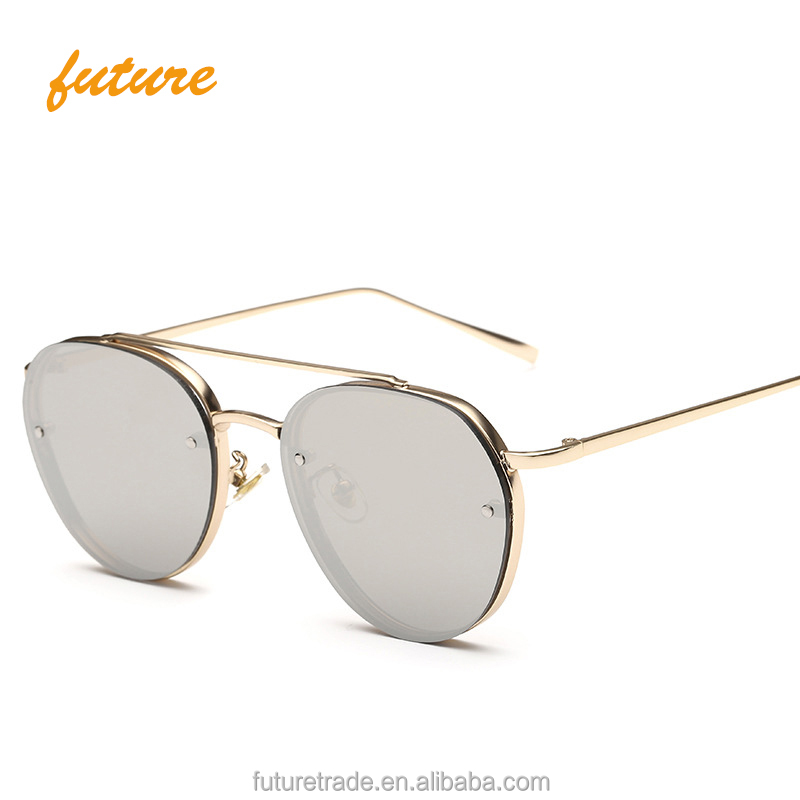 Fashion Summer Ocean Clear Styles Women Glasses Sunglasses Brand Designer Metal Frame Clear Coating Sun Glasses 2019 UV400, Grey sliver brown purple colors