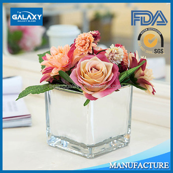 Electroplating Silver Small Square Flower Vase For Table Decor Buy