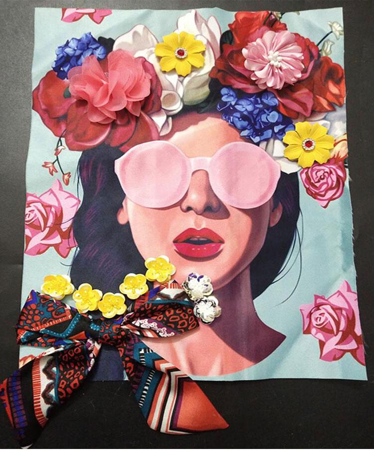 ビーズラインストーン弓女の子パッチヴィンテージ刺繍アップリケファッション衣類装飾縫製パッチアクセサリーモチーフパッチ