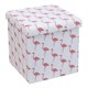 Collapsible Linen Fabric Printing Foldable Storage Ottoman Pouf Stool