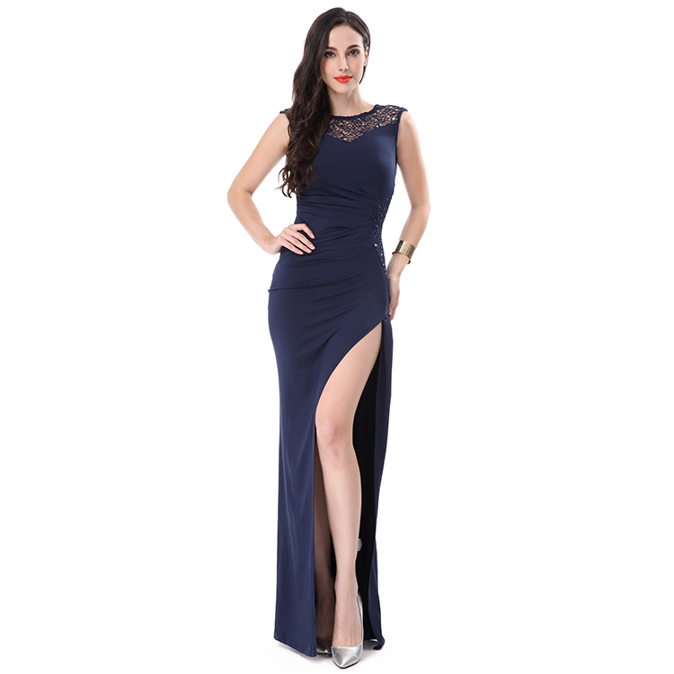 Cocktail lace high split new model dresses women clothing manufacturer