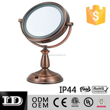 Copper finished LED Surround Lighted Tabletop and Vanity Mirror