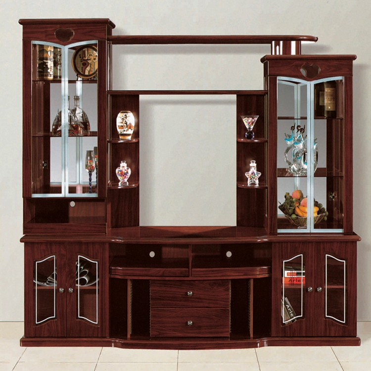 Living room furniture 810 mdf tv stands with showcase desk for Tv cabinet designs for hall