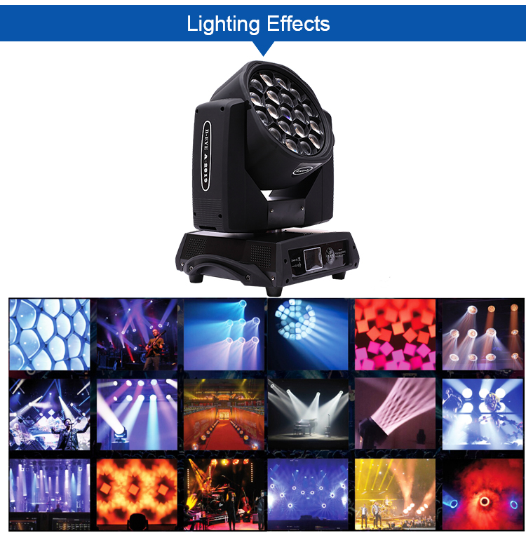 Clay Parky 19pcs 15w RGBW 4 IN 1 stage lighting cheap 15w beam moving head light  clay paky bee eye k10 sharpy