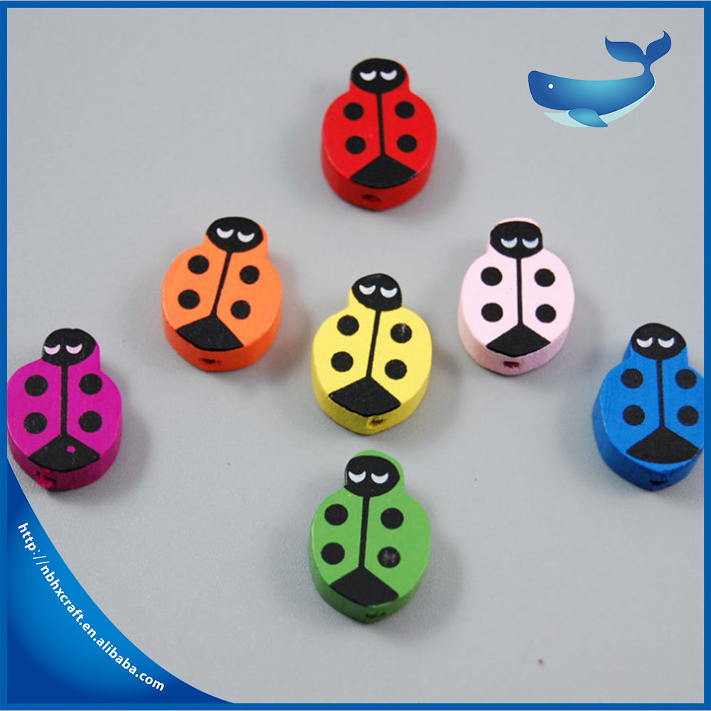 Custom 20*14mm colourful kids jewelry making animal wooden beads