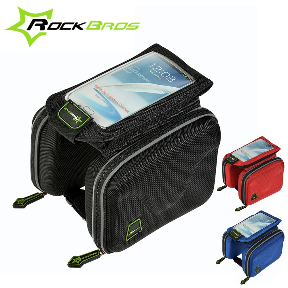 2015 ROCKBROS MTB Road Bicycle Bag Touch Screen Top Front Frame Tube &Double Capacity Pannier Cycling Bag Bike Accessories