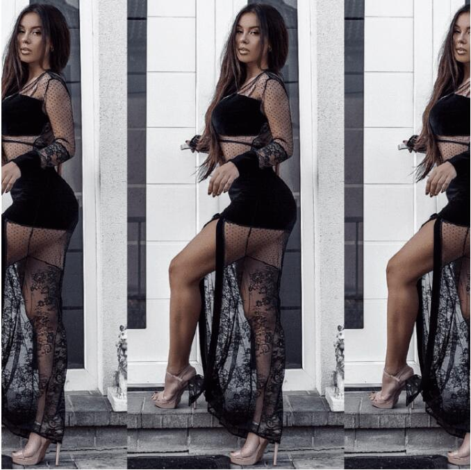 C1122 Wholesale Black Mature Women Sexy Deep V See Through Lace High Slit Maxi Bodycon Club Dress