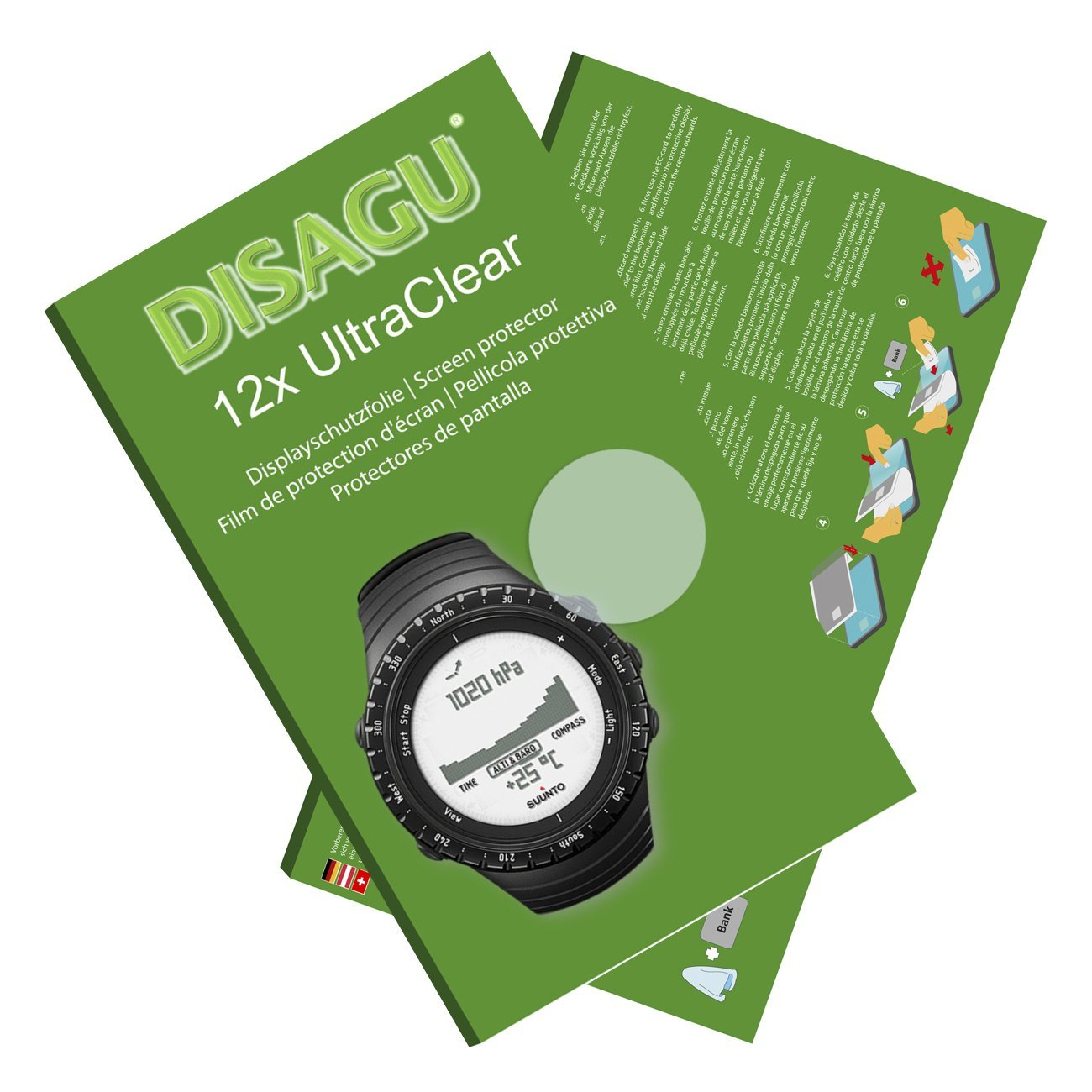 DISAGU 12x Ultra Clear Screen Protector for Suunto Core Regular Black