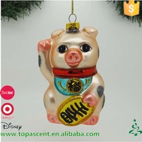 Newly designed outdoor christmas decoration handblown glass Fortune pig ornament