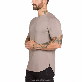 Mens Casual Blank Curved Bottom Fitness Gym verlängert T-Stück in der Masse