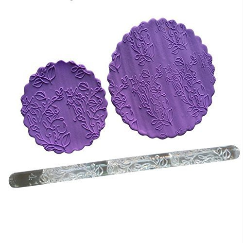 Morning Glory pattern Imprint Embossing Rolling Pin, Acrylic Fondant Cake Dough Pastry Rolling Pin for Cake Pastry Decoration, Baking Mould Roller Bakeware Kitchen Accessories