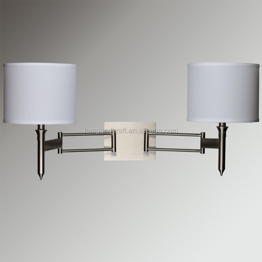 UL CUL Listed Brushed Nickel Double Wall Lamp Hotel Lamps bedside hotel wall sconce With Double Knuckled Swing Arm