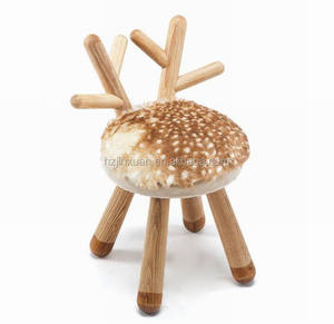 WN3102 USA market besting selling wooden deer stool home furniture chair ottoman with wooden legs for kids indian foot stool