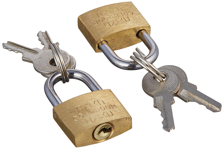 uxcell Cabinet Jewlery Box Packsack Brass 20mm Width Mini Padlock Gold Tone w 2pcs Keys