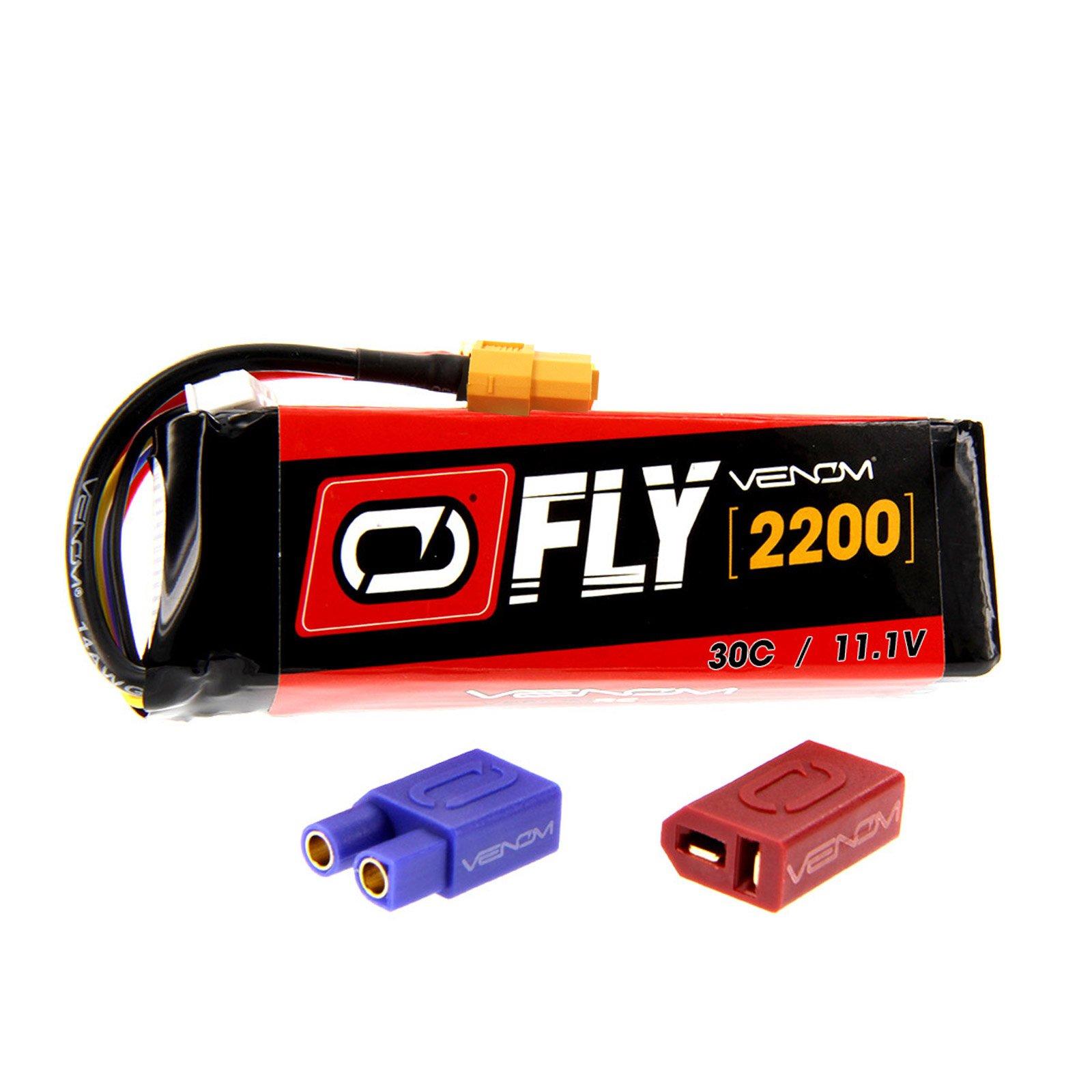 Venom Fly 30C 3S 2200mAh 11.1V LiPo Battery with UNI 2.0 Plug (XT60/Deans/EC3) - Compare to E-flite EFLB22003S30