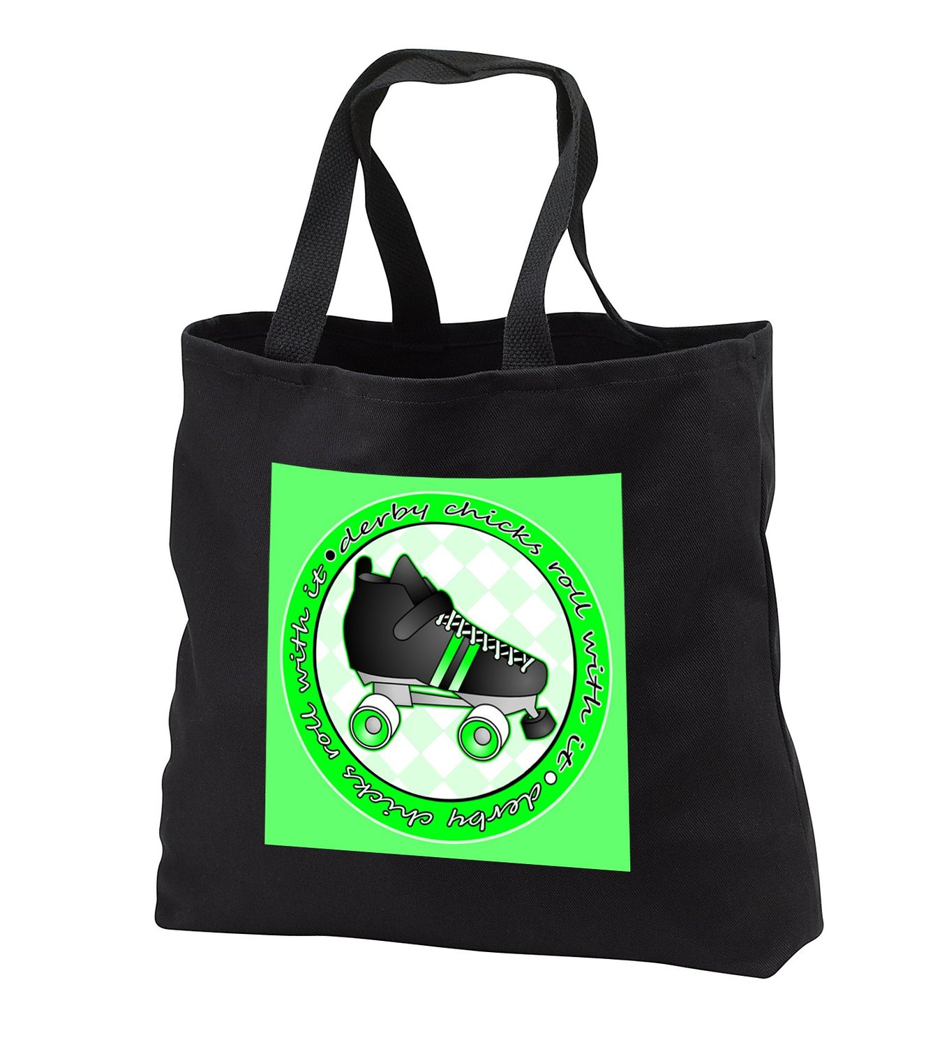Janna Salak Designs Roller Derby - Derby Chicks Roll With It Green with Black Roller Skate - Tote Bags