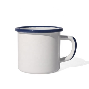 Wholesale 0.5mm thickness customized color rim and handle enamel camping mug for sublimation