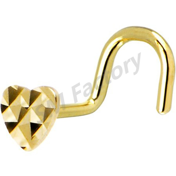 solid 14kt yellow gold flat textured heart nose screw ring --SMBD326035