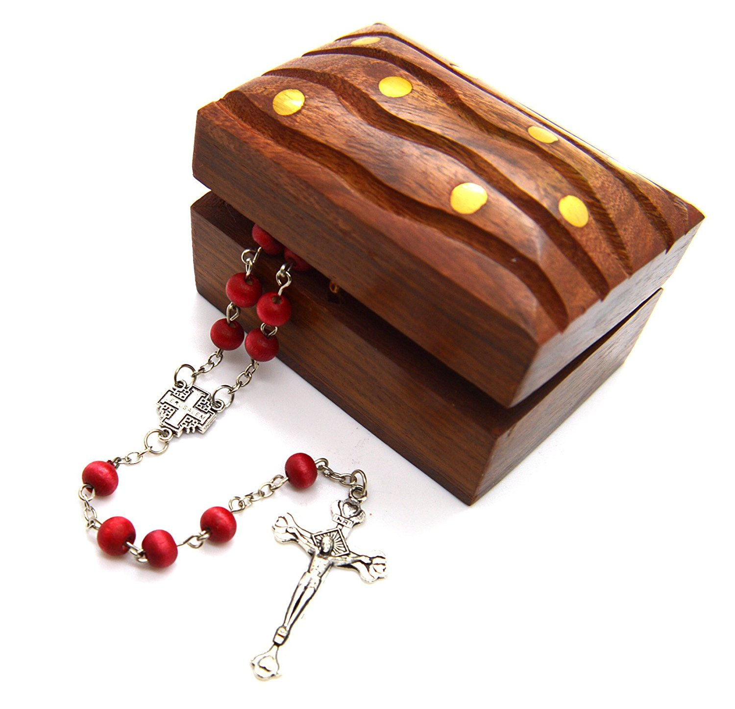 Jerusalem Cross Rose Petal Scented Wood Carved Rosary 6 Mm Bead and Wooden Hand Carved Rosary Box