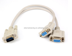 RS232 Serial Mouse or Monitor Splitter Cable (1)DB9 Female to (2) DB9 Male