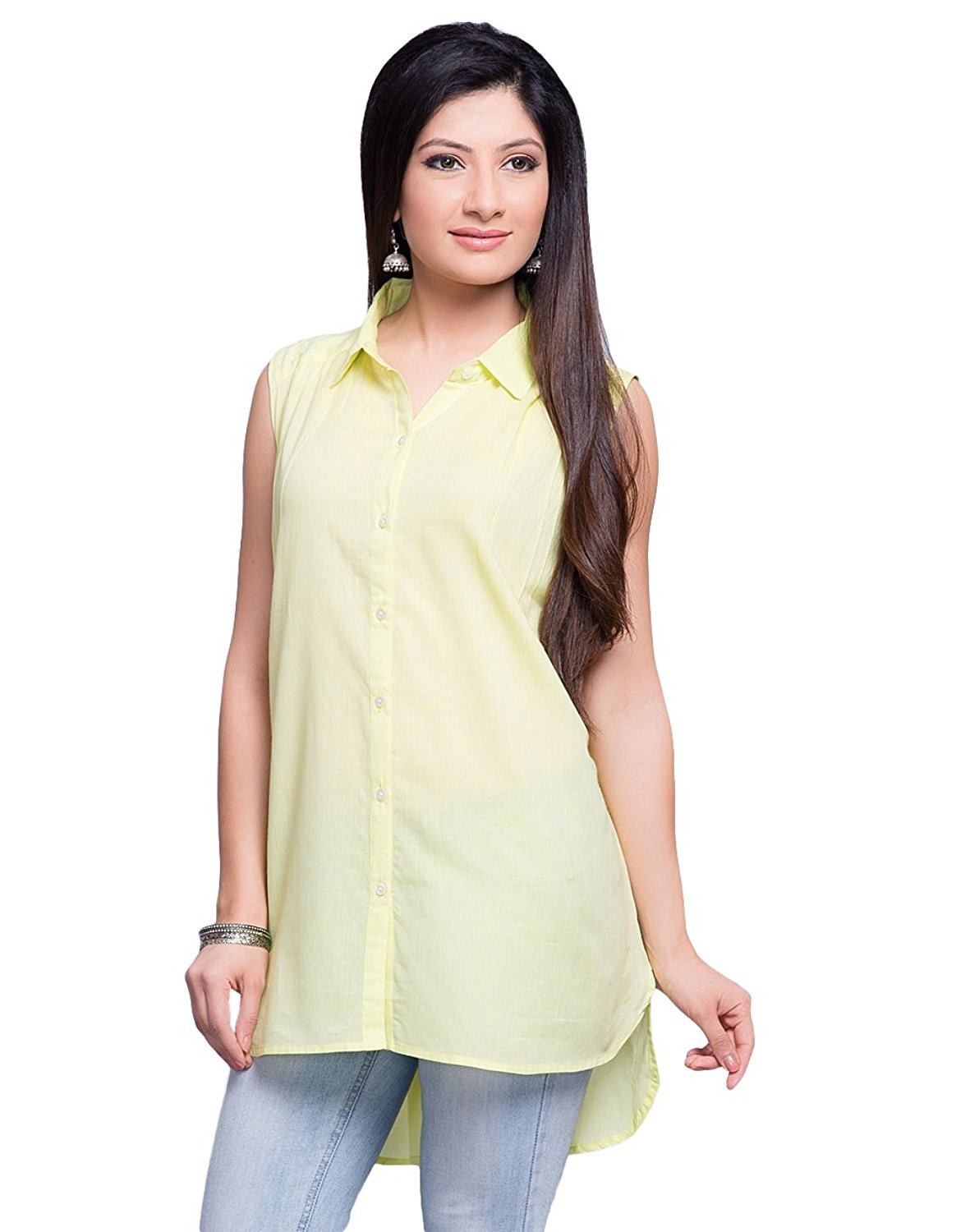 bbdf4d9787 Get Quotations · Fabindia Cotton Chambray Thread Embroidery Tunic S