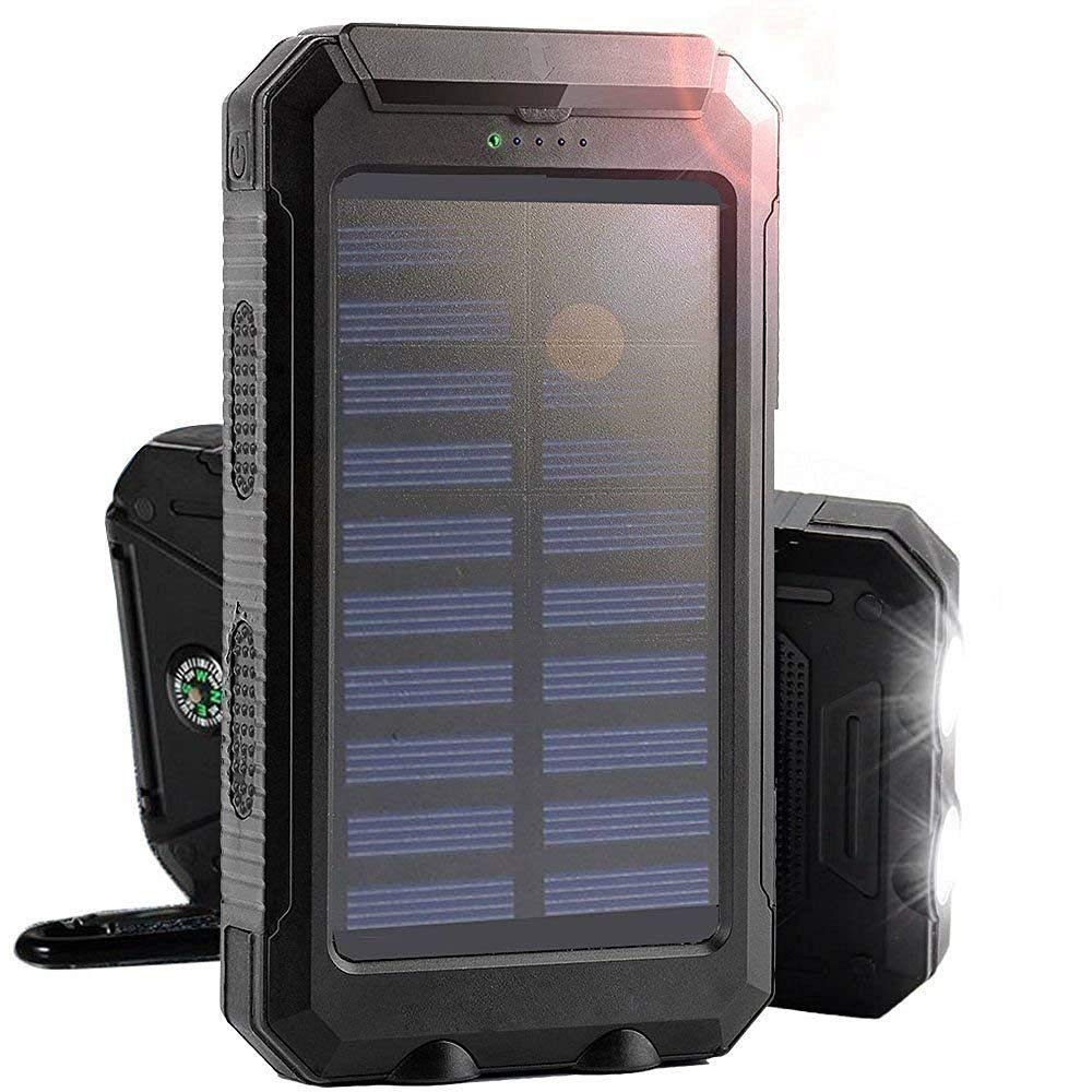 Mandorra Waterproof 30000mAh Dual USB Portable Solar Battery Charger Solar Power Bank Shockproof Battery(black)