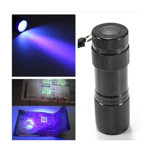 3AAA Aluminium Invisible Blacklight Ink Marker 9LED 9 LED UV Ultra Violet Mini Portable Flashlight Torch Light