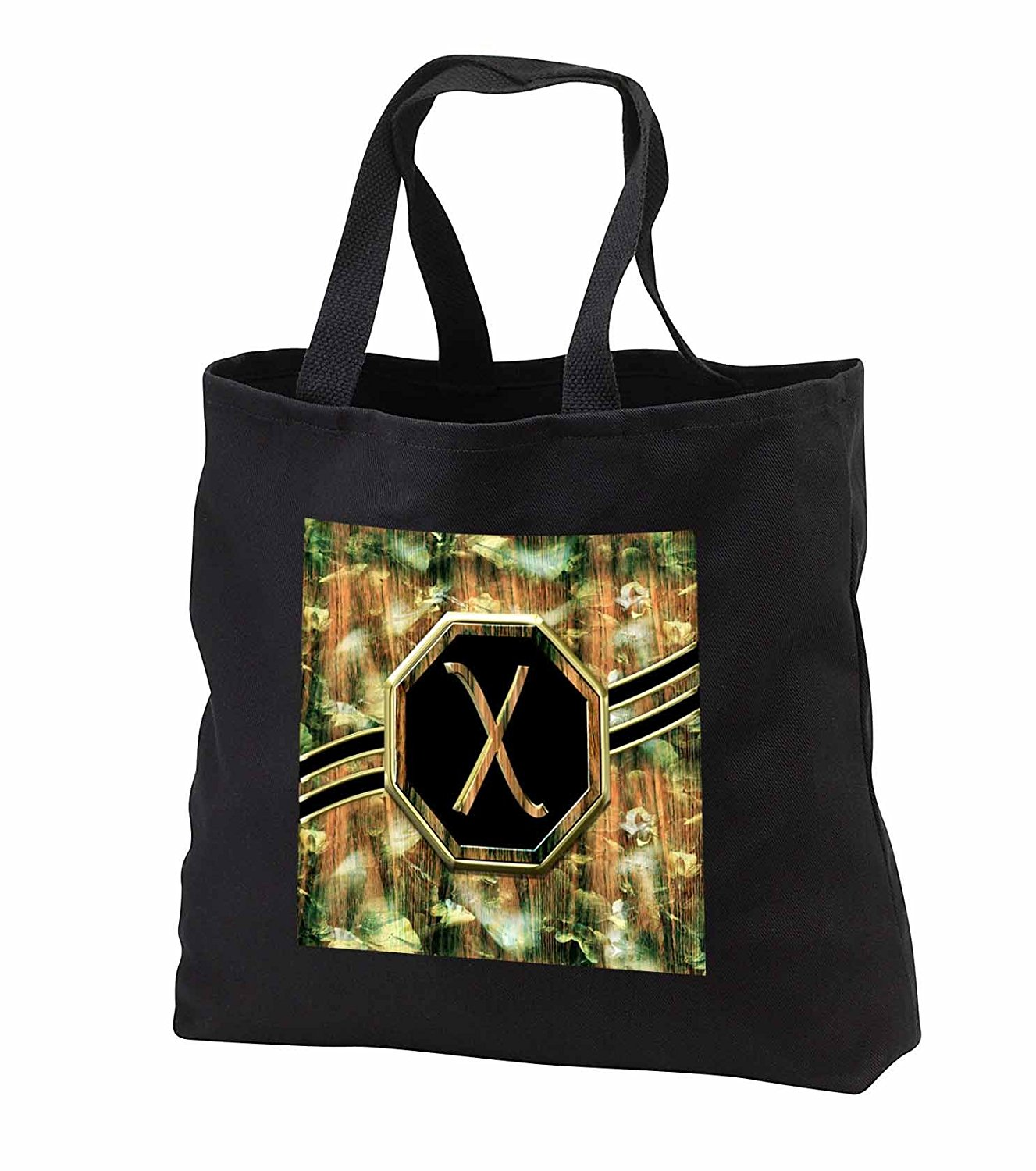 tb_242353 Charlyn Woodruff - CW Designs Monogram Camouflage - Elegant Camouflage Monogram Letter X Faux Gold Wood Grain Image - Tote Bags
