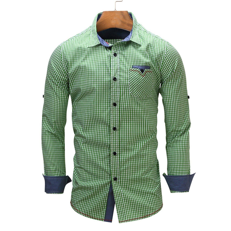 af5b306dc21 Get Quotations · B dressy Slim european size New Arrival Men s shirt Long  Sleeve Plaid Shirts Mens Dress Shirt