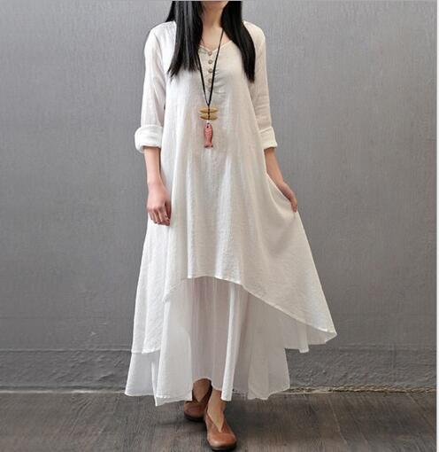 Johnature Cotton Color Women Maxi Dress 2020 Autumn New False Two-piece Long Sleeve Round Neck Loose Plus Size Irregular Dress