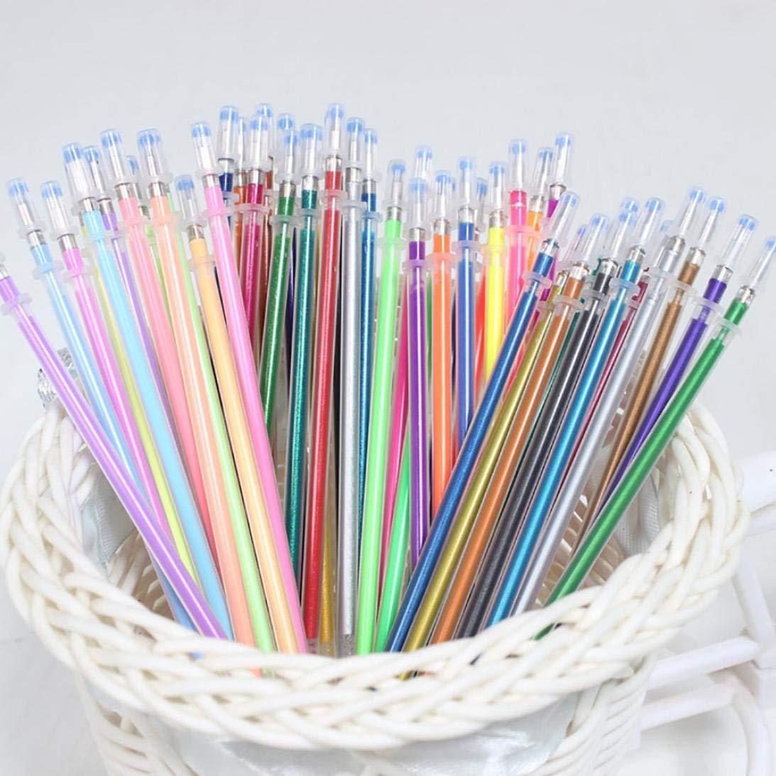 Sacow Glitter Gel Pen Refills, 48pcs Gel Pens Gel Refills Rollerball Pastel Neon Glitter Pen Drawing Colors