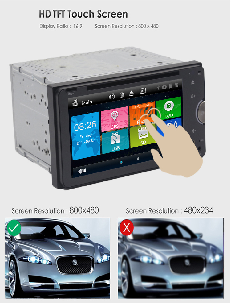 Factory Price Universal 2 Din Car Dvd Radio Head Unit with Bluetooth Gps Wifi