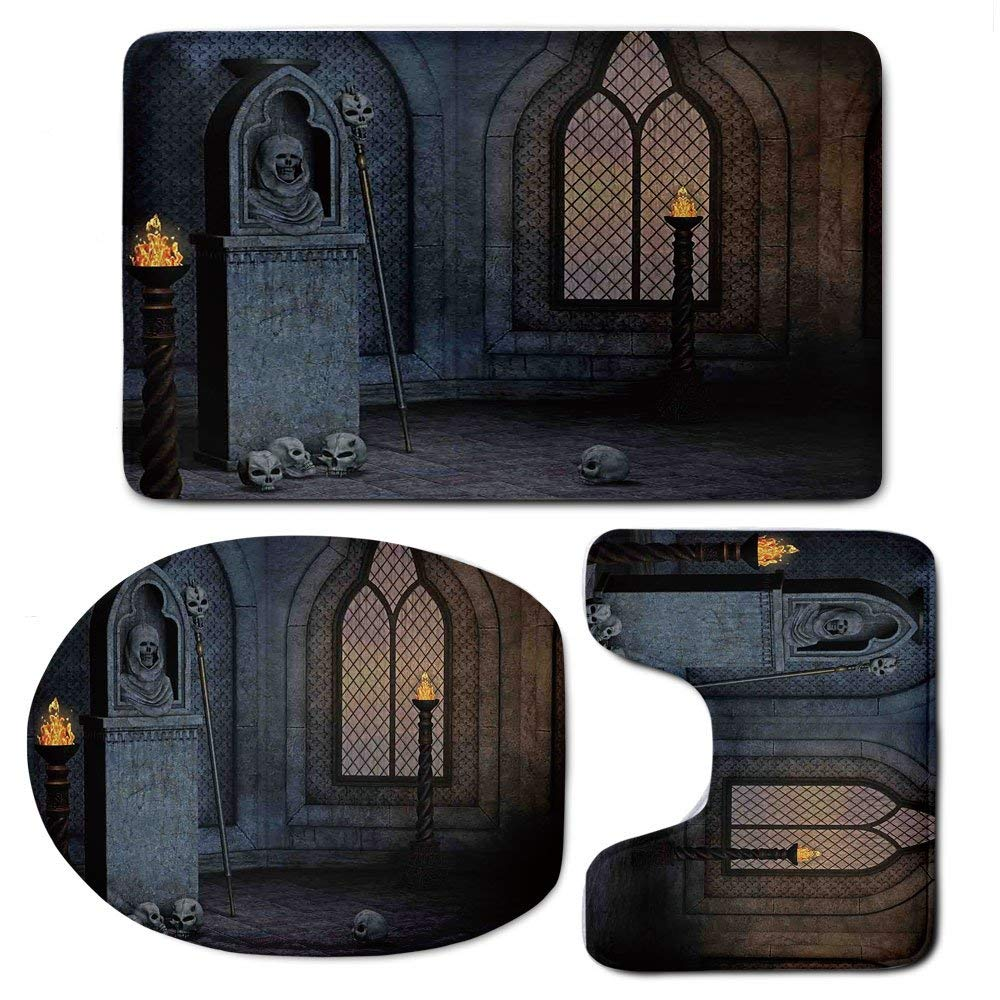 3 Piece Bath Mat Rug Set,Gothic-Decor,Bathroom Non-Slip Floor Mat,Gothic-Scenery-Mystical-Spooky-Moonlight-Darkness-Skulls-Ghost-Story-art-Decorative,Pedestal Rug + Lid Toilet Cover + Bath Mat,