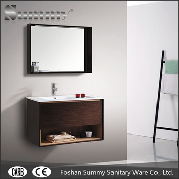 Concealed Drawer Guardrail Soft Close Makeup Hanging Bathroom Vanity Cabinet