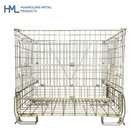 Warehouse hot dip zinc collapsible metal transport foldable adjustable steel storage wire mesh cages with wheels