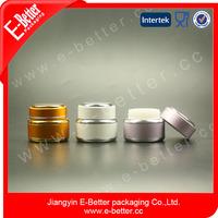 luxury glass empty round anodized aluminum nail polish jar